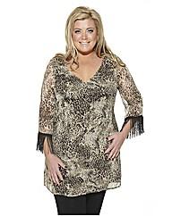 Gemma Ghana Fringed Leopard Tunic