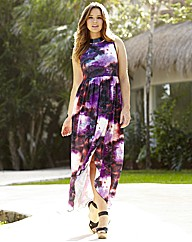 Galaxy Print High Low Dress