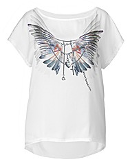 Wings Feather Print T Shirt