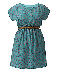Cutie Bird Print Belted Dress