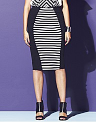 Striped Panel Pencil Midi Skirt
