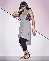 Tunic With Contrast Neon Lace Panels