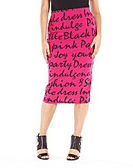 Midi Graffiti Printed Skirt