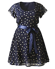 AX Paris Navy Spot Dress With Satin Belt