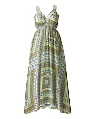 AX Paris Square Print Mint Maxi Dress