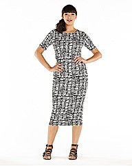 Short Sleeve Aztec Printed Midi Dress