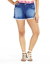 Denim Shorts With Lace Hem