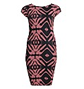 AX Paris Coral Aztec Bodycon Midi Dress