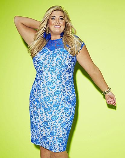 Gemma Collins Blue Lace Party Dress