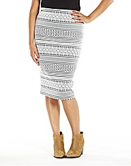Midi Black And White Aztec Skirt
