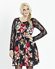 Rose Printed Dress With Lace Sleeves