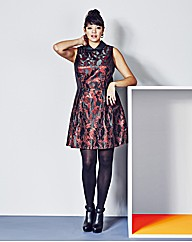 Jacquard Skater Dress With Collar