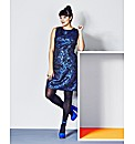Blue Jacquard Dress With PU Side Panels
