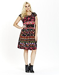 Lace Trim Folk Print Dress