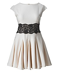 AX Paris Lace Waist Nude Skater Dress
