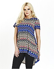 Folk Print Short Sleeve High Low Hem Top