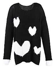 AX Paris Furry Heart Jumper