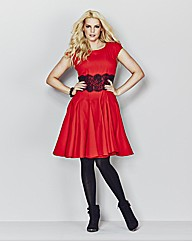 AX Paris Red Lace Waist Skater Dress
