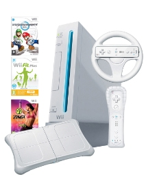 Wii Console White + Wii Fit Plus + Zumba