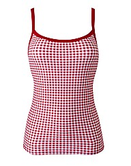 Beach To Beach Red Gingham Tankini Top