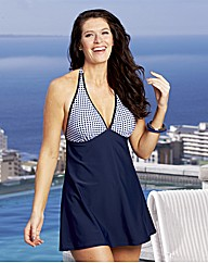 Beach To Beach Navy Gingham Swimdress