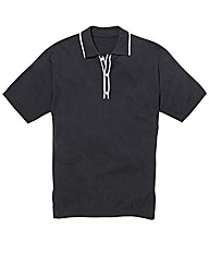 Jacamo Tipped S/S Knitted Polo Long