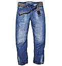 Jacamo Fashion Jeans With Webbed Belt XL