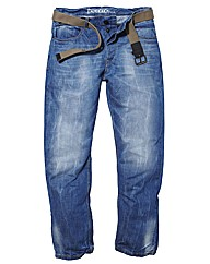 Jacamo Fashion Jeans With Webbed Belt L