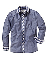 Jacamo Chambray Check Shirt Long