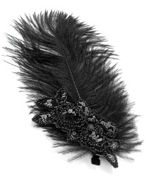 Accessories Black Feather Sequin Clip