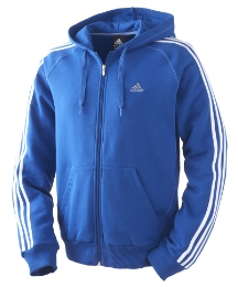 Adidas Mens Stripe Full Zip Hood Top