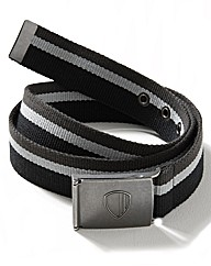 Ben Sherman Black Stripe Webbed Belt