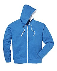 Jacamo Blue Full Zip Basic Hoodie Long