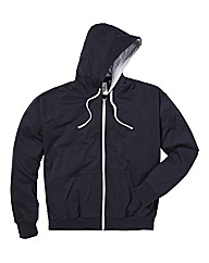 Jacamo Navy Full Zip Basic Hoodie Long