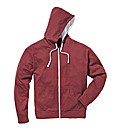 Jacamo Wine Full Zip Basic Hoodie Long