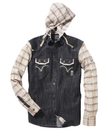 Mish Mash Check Sleeved Hooded Shirt