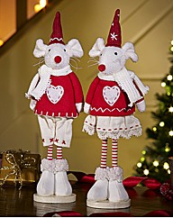 Set of 2 Standing Christmas Mice