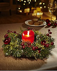 Festive Wreath and LED Candle Light Set