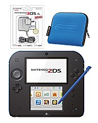 Nintendo 2DS Black+Blue & Carry Case