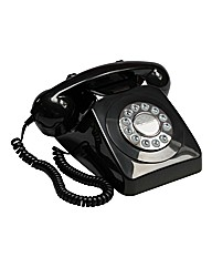 Retro Push Button Phone - Black