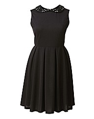 AX Paris Embellished Collar Skater Dress