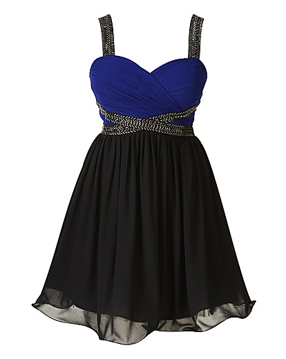 Laced In Love Lace Waisted Black And Cobalt Dress
