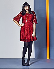 Red Lace Dress With Short Belle Sleeves