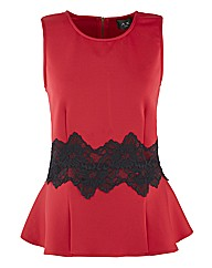 AX Paris Contrast Lace Peplum Top