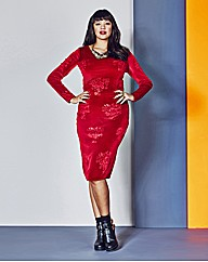 Velour Bodycon Dress
