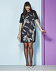 Feather Print Front Tunic Dress
