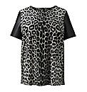 AX Paris Animal Print Tee With PU Sleeve