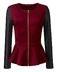 AX Paris Peplum PU Sleeve Wine Jacket