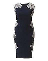 AX Paris Lace Panel Navy Bodycon Dress