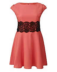 AX Paris Coral Lace Waist Skater Dress